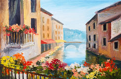 Oil painting, canal in Venice, Italy, famous tourist place. Colorful impressionism Stock Images