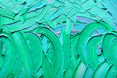 Oil Painting On Canvas. Abstract paintings of green-blue colors embossed decoration royalty free stock photography