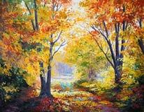 Oil painting on canvas - autumn forest. Abstract, season, modern stock photo