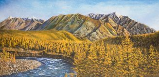 Autumn in the North. Oil painting on canvas. Autumn in the North Royalty Free Stock Photography