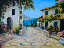 Oil painting on canvas of a beautiful houses near the sea Royalty Free Stock Photography