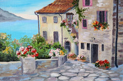 Oil painting on canvas of a beautiful houses near the sea Royalty Free Stock Images