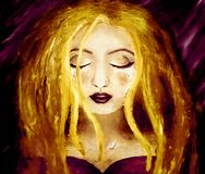 Oil painting on canvas of a blonde woman crying on a dark purple background