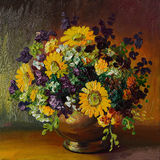 Oil painting on canvas - bouquet of daisies. Abstract, agriculture Stock Images