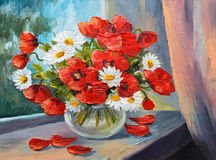Oil painting on canvas - bouquet of poppies Stock Images