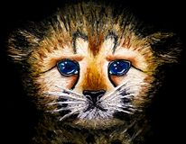 Oil painting on canvas of closeup of newborn cheetah cub isolated on black background Stock Image