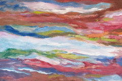 Oil painting on canvas. Cold shades. Brushstrokes of paint. Modern art. Horizontal abstracted colorful waves. Stock Photos