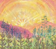 Oil Painting on canvas. Dawn in the mountain gorge. Sun rays in the golden sky. In the background there are tall trees, in the foreground young pine trees grow Stock Image