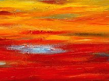 Blue and orange oil paint brush strokes. Royalty Free Stock Photography