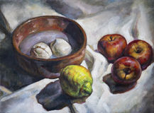 Oil painting on canvas of a fruit composition Stock Images