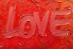 Oil Painting On Canvas. Handmade. Texture. Word ''LOVE royalty free stock photos