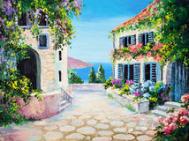Oil painting on canvas - house near the sea. Summer, canvas, greek royalty free stock photography