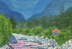 House standing on the bank of a mountain river. Oil Painting on canvas. House standing on the bank of a mountain river. Around grow trees. in the background stock illustration