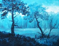 Oil Painting on Canvas - Indigo Landscape