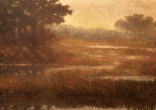 Oil painting on canvas - landscape Stock Images