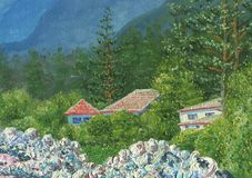 Landscape of a mountain valley. Oil Painting on canvas. Landscape of a mountain valley. Village houses standing in the middle of trees. In the foreground there vector illustration
