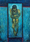 Oil painting on canvas, lonely man, melancholy Royalty Free Stock Photo