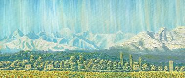 Oil Painting on canvas. Mountain landscape. The ridge at dawn. Clear sky, a village with small houses, trees and a field of sunflowers. Caucasus. Rough texture Stock Photo