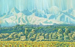 Oil Painting on canvas. Mountain landscape. The ridge at dawn. Clear sky, a village with small houses, trees and a field of sunflowers. Caucasus. Rough texture Stock Image