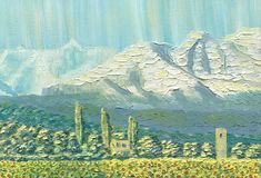 Oil Painting on canvas. Mountain landscape. The ridge at dawn. Clear sky, a village with small houses, trees and a field of sunflowers. Caucasus. Rough texture Royalty Free Stock Images