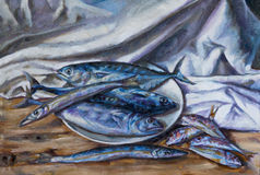Oil painting on canvas of a plate with fish Stock Photography