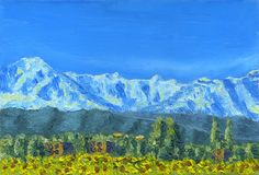 Oil Painting on canvas. Snowy mountain range. Hamlet and field of sunflowers. It`s a clear morning. Caucasus.Rough texture of large brush strokes and palette Royalty Free Stock Photography