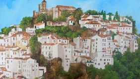 Oil painting-Casares stock photo