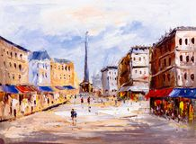 Oil Painting - City View of Europe stock photography