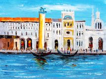 Oil Painting - City View of Italy royalty free stock photos