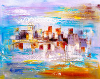 Oil Painting - City View of Prague Royalty Free Stock Photography