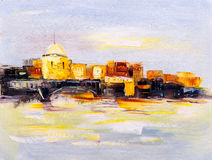 Oil Painting - City View of Prague Royalty Free Stock Photo