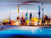 Oil Painting - City View of Shanghai Royalty Free Stock Images