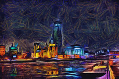 Oil painting cityscape on the river after sunset. Oil painting sunset over the river in the city Stock Photos