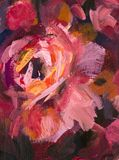 Red violet flowers rose peony texture oil painting. Abstract hand-paintet flowers background. Oil painting close-up flower. Big red violet flowers rose peony Royalty Free Stock Photos