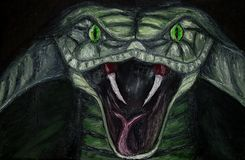 Oil painting of closeup of a green menacing cobra snake with green eyes on canvas, dangerous animal isolated on black background
