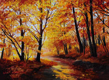 Oil painting - colorful autumn forest , art work Royalty Free Stock Photos
