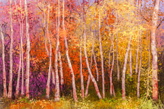 Oil painting colorful autumn landscape background. Oil painting landscape - colorful autumn trees. Semi abstract image of forest, aspen trees with yellow and red Royalty Free Stock Images