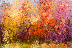 Oil painting colorful autumn landscape background Stock Photos