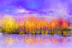 Oil painting colorful autumn landscape background