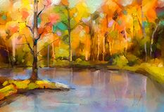 Oil painting colorful autumn trees. Fall season nature background. Oil painting colorful autumn trees. Semi abstract image of forest, aspen trees with yellow vector illustration
