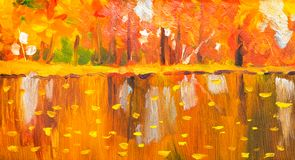 Oil painting colorful autumn trees. Semi abstract image of forest, aspen trees with yellow - red leaf and lake. Autumn, Fall seaso stock illustration
