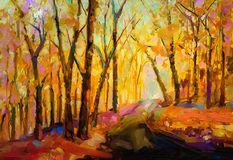 Free Oil Painting Colorful Autumn Trees. Semi Abstract Image Of Forest, Aspen Trees With Yellow - Red Leaf. Royalty Free Stock Photography - 139798797