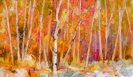 Free Oil Painting Colorful Autumn Trees. Semi Abstract Image Of Forest, Aspen Trees With Yellow - Red Leaf. Royalty Free Stock Photo - 208462095