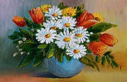 Oil Painting - colorful bouquet  of daisies on the table in a va Stock Image