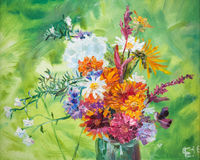 Oil painting. Colorful bouquet of summer flowers Stock Photography