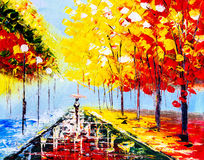 Oil Painting - Colorful Rainy Night Royalty Free Stock Images
