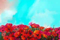 Oil painting Colorful red poppy flower in the meadows Royalty Free Stock Photo
