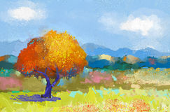 Oil painting of a colorful rural landscape stock illustration