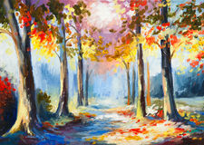 Oil painting - colorful spring landscape, road in the forest. Royalty Free Stock Photos