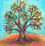 Oil painting of colorful tree. Hand painted tree with bright colors and blue sky royalty free illustration